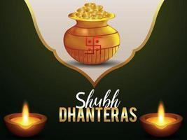 Creative gold coin kalash with diwali diya for happy dhanteras vector