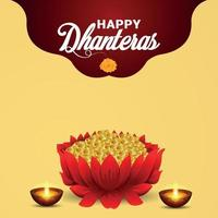 Happy dhanteras indian festival celebration card with gold coin pot vector