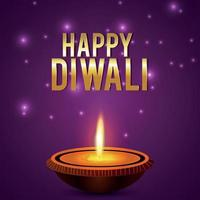 Happy diwali indian festival celebration card vector