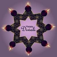 Happy diwali festival of light greeting card with diwali diya on purple background vector