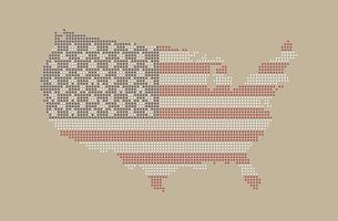 Vintage dotted style map of USA and america flag pattern vector