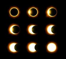 Different phases of solar and lunar eclipse  Vector