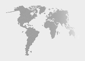 Distorted and dotted style world map on gray background vector