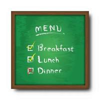 Blackboard and text food menu with check mark  Vector