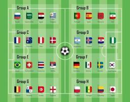 grupo de equipo de la copa de fútbol 2018 y vector de banderas nacionales para el torneo del campeonato mundial internacional