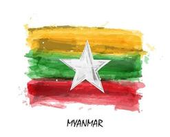 Realistic watercolor painting flag of Myanmar  Burma   Vector