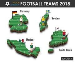 National soccer teams 2018 group F  Football player and flag on 3d design country map  isolated background  Vector for international world championship tournament 2018 concept