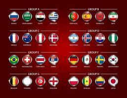 equipo de fútbol o copa de fútbol 2018 conjunto de grupo de círculo cubierto de vidrio diseño de la bandera nacional con borde de metal y vector de brillo para el torneo del campeonato mundial internacional