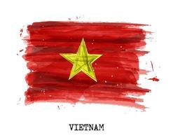 pintura de acuarela, bandera, de, vietnam, vector
