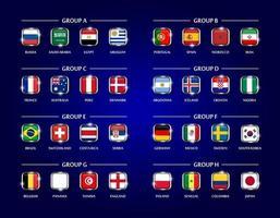 equipo de fútbol o copa de fútbol 2018 conjunto de grupo de diseño cuadrado cubierto de vidrio de la bandera nacional con borde de metal y brillo sobre fondo de color azul vector para el torneo del campeonato mundial internacional