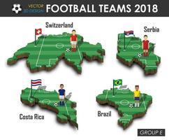 equipos nacionales de fútbol 2018 grupo e jugador de fútbol y bandera en el mapa del país de diseño 3d vector de fondo aislado para el concepto del torneo del campeonato mundial internacional 2018