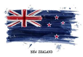 Watercolor painting flag of New zealand  Vector