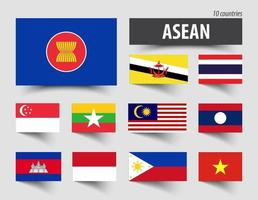 Flag of ASEAN  Association of Southeast Asian Nations  and membership vector