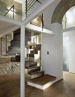 Detail of iron staircase in the modern living room photo