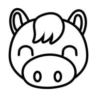 cute horse farm line style icon vector