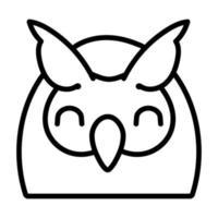 cute little owl bird line style vector
