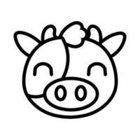 cute cow farm animal line style icon vector