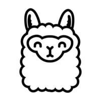 cute llama wild animal line style icon vector