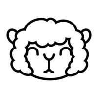 cute sheep farm line style icon vector