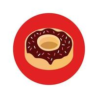 delicious sweet donut bakery block and flat style vector