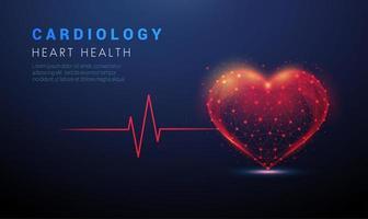 Forma de corazón abstracto con línea roja cardio puls vector