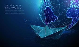 Low poly abstract planet earth with paper ship vector
