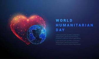 Abstract planet Earth and heart World humanitarian day template vector