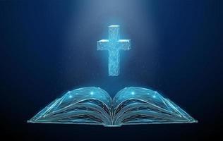 Biblia abierta abstracta de baja poli con cruz vector