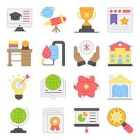 Pack of Online Education Flat Icons vector