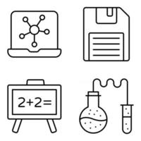 Pack of Binary Idea Linear Icons vector