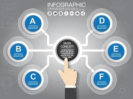 Vector infographic template for circular diagram graph presentation chart business concept