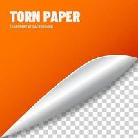 Orange torn paper vector