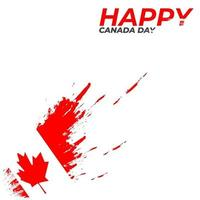 Beautiful red brush canada day happy frame vector