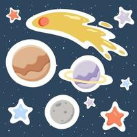 planetas distantes estrellas asteroides espacio vector