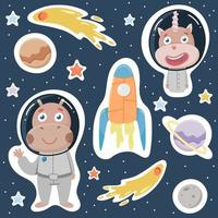 Large space set Distant planets stars hippo and unicorn vector