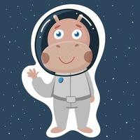 Cute hippo in a spacesuit for space flight vector