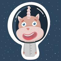 A cute unicorn in a spacesuit for space flight vector