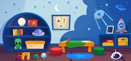 Kindergarten interior playroom with games in cosmos style vector