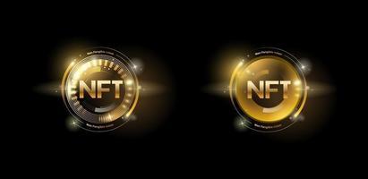 Golden nft token set with glitter effect vector