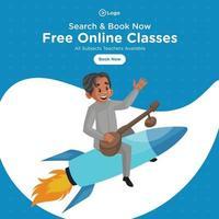 Banner design of free online classes cartoon style illustration vector