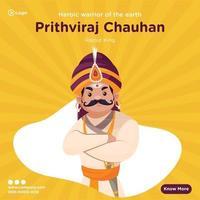 diseño de banner de rajput king prithviraj chauhan vector