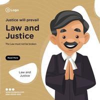 diseño de banner de justicia prevalecerá ilustración de estilo de dibujos animados vector