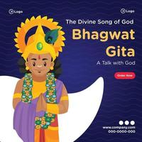 Banner design of the divine song of god bhagwat gita template vector