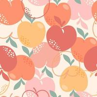 Seamless pattern with peaches or apricots leaves and flowers vector