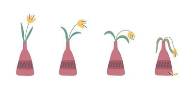 Stages of withering wilted flower in a vase abandoned plant without watering and care vector