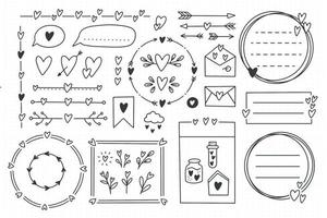 Cute bullet journal element doodles with hearts love theme Hand drawn vector