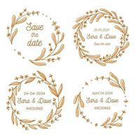 Save the date wedding monogram flower wreath collection hand drawn vector illustration