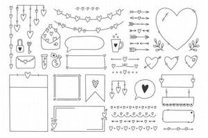 Cute bullet journal element doodles with hearts love theme vector