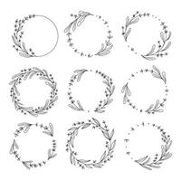 Floral lavender wreath collection hand drawn vector illustration  for wedding event invitations