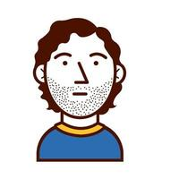 young man shaved avatar character icon vector